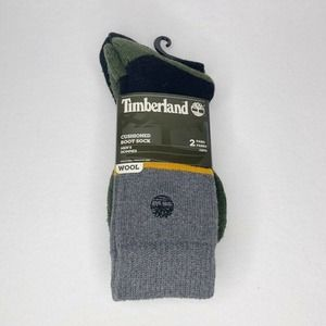 Timberland 2 Pairs Boot Socks Gray Black One Size